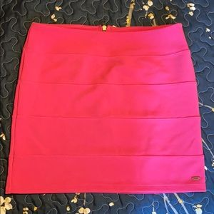 Hot pink body con mini skirt!
